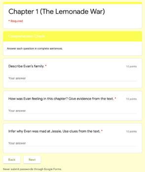 The Lemonade War Comprehension Packet
