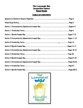 The Lemonade War (Davis) - Novel Study
