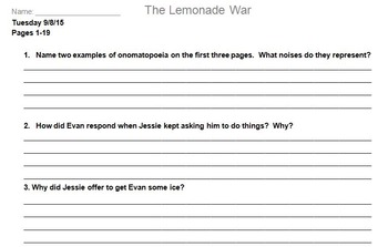 The Lemonade War Novel Assignment