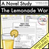The Lemonade War Novel Study Unit Distance Learning