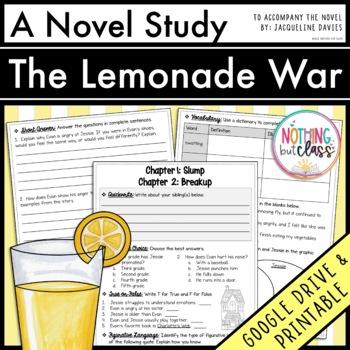 The Lemonade War Novel Study Unit: comprehension, vocabula