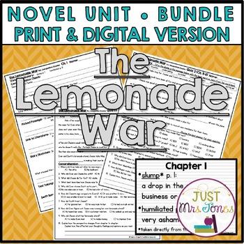The Lemonade War Novel Unit