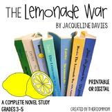 The Lemonade War Novel Unit with distance learning option