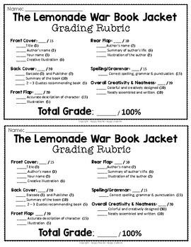 The Lemonade War Project: Create a Book Jacket! (Lemonade War Activity)