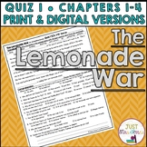 The Lemonade War Quiz 1 (Ch. 1-4)