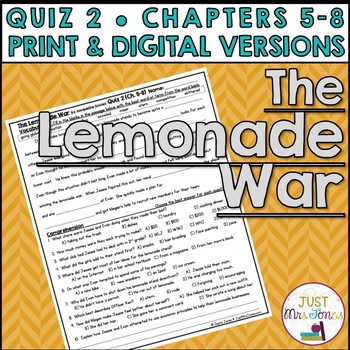 The Lemonade War Quiz 2 (Ch. 5-8)