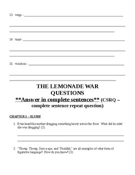The Lemonade War Skills-Based Questions Packet