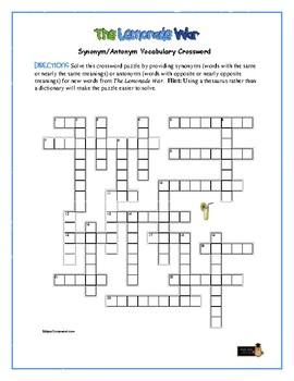 The Lemonade War: Synonym/Antonym Vocab Crossword—Use with Bookmarks Plus!