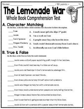 The Lemonade War Test: Final Book Test with Answer Key