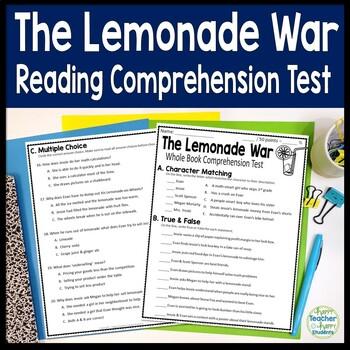 The Lemonade War Test: Final Book Quiz with Answer Key
