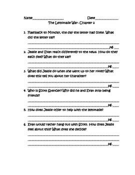The Lemonade War Text-Dependent Questions for Close Reading