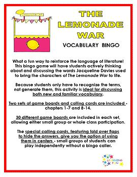The Lemonade War Vocabulary Bingo