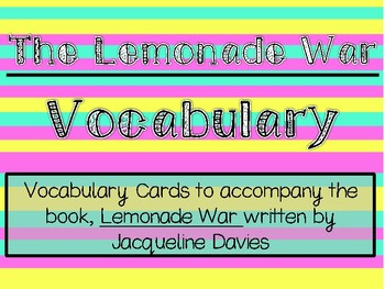 The Lemonade War Vocabulary Cards