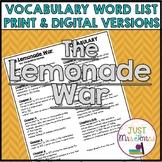 The Lemonade War Vocabulary Word List
