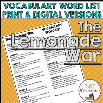 The Lemonade War Vocabulary Word List