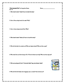 """""""The Lemonade War"""", by J. Davies, Comprehension Questions"""