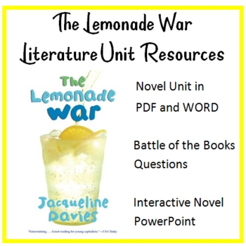 """""""The Lemonade War"""", by J. Davies, ENTIRE UNIT of RESOURCES on CD"""