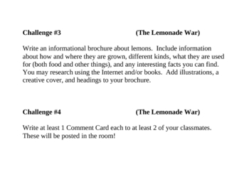 """The Lemonade War"", by J. Davies, Project Challenges"