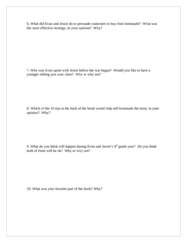 """The Lemonade War"", by J. Davies, Short Answer TEST"