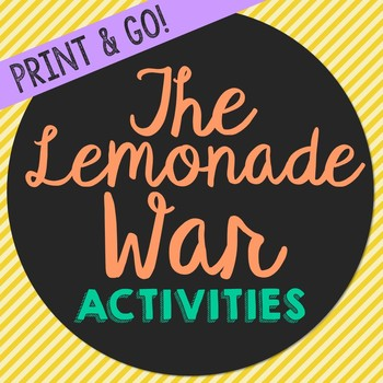 the lemonade war novel unit study activities book companion worksheets