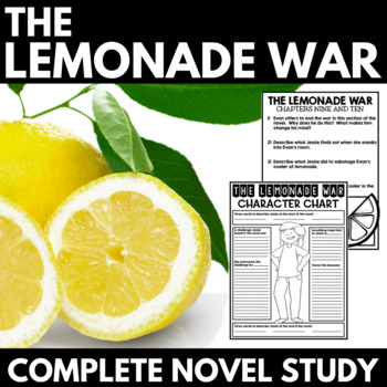 Lemonade War Novel Study Unit - Interactive Notebook Questions and Activities