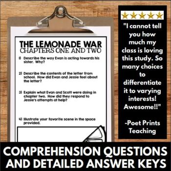 Lemonade War Novel Study Unit - Interactive Notebook Questions and Activities