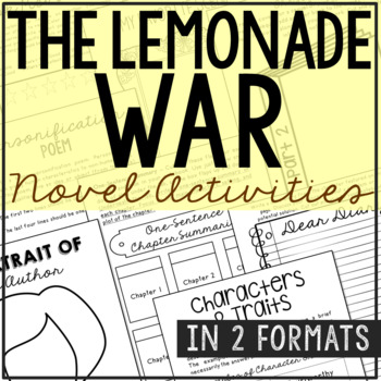 The Lemonade War Interactive Notebook Novel Unit Study Activities, Book Report