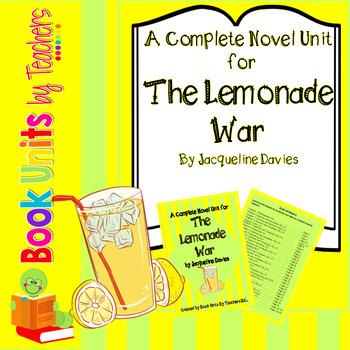 The Lemonade War by Jaqueline Davies Book Unit