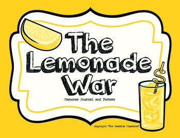 The Lemonade War - response journal, posters, clip art and questions