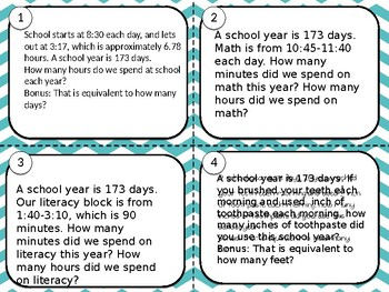 The Length of a School Year task cards
