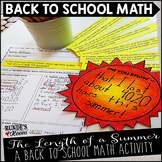 The Length of a Summer - Back to School Math Activity