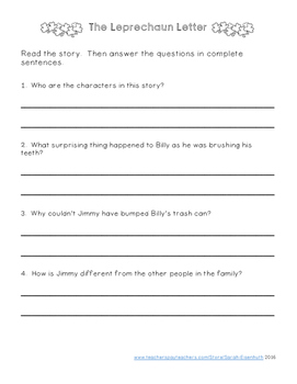 St. Patrick's Day Reading Comprehension (Fiction)