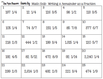 The Less Paper Classroom:  Writing a Remainder as a Fraction