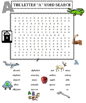 "The Letter ""A"" Word Search Puzzle"