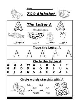The Letter A Zoo Alphabet Worksheet