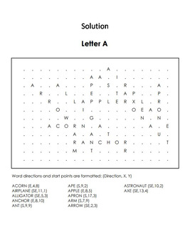 Phonics Worksheet: Beginning Letter Sounds: Letter of the Week A Word Search