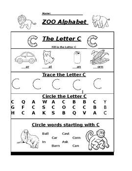 The Letter C Zoo Alphabet Worksheet