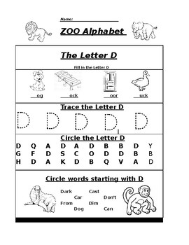 The Letter D Zoo Alphabet Worksheet