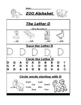 the letter d zoo alphabet worksheet by pointer education tpt. Black Bedroom Furniture Sets. Home Design Ideas