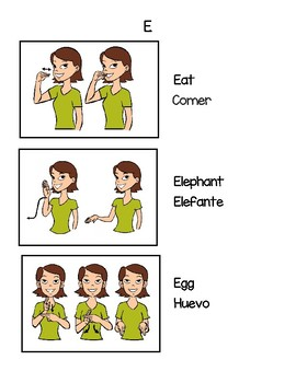 The Letter E:  3 Sign Language Signs and Spanish Translations