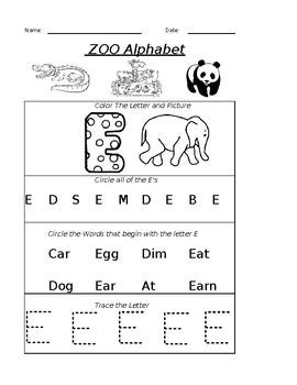 The Letter E Worksheet