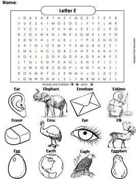 phonics worksheet beginning letter sounds letter of the week e word search. Black Bedroom Furniture Sets. Home Design Ideas