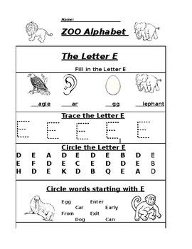 The Letter E Zoo Alphabet Worksheet