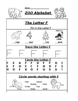 The Letter F Zoo Alphabet Worksheet