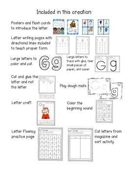 Alphabet Worksheets for the Letter G