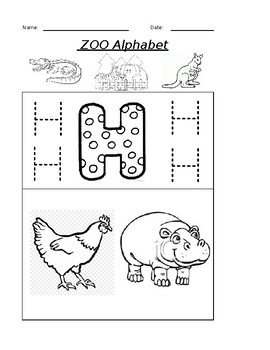 The Letter H Coloring Zoo Alphabet Worksheet