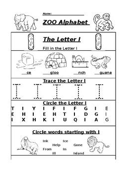 The Letter I Zoo Alphabet Worksheet by Pointer Education   TpT