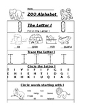 The Letter I Zoo Alphabet Worksheet