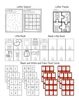 Alphabet Worksheets for the Letter J