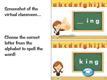 Phonics activity and learning game featuring the letter Kk